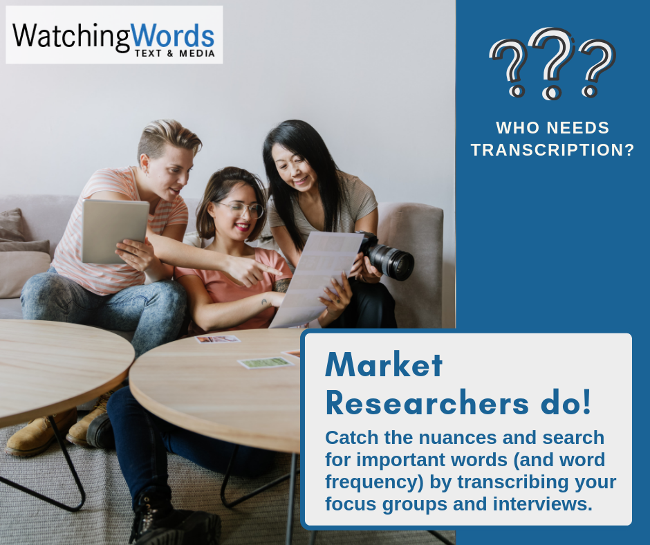 Who needs transcription? Market researchers do! Catch the nuances and search for important words by transcribing your focus groups and interviews