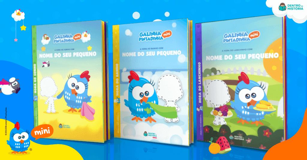 livros personalizados galinha pintadinha dentro da historia