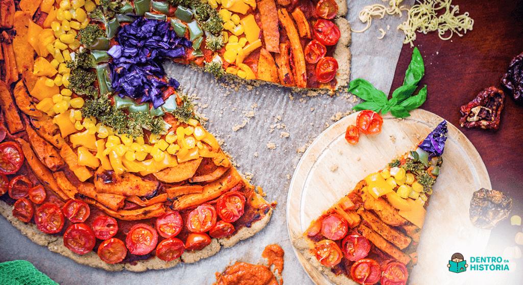 pizza de arco-íris como fazer