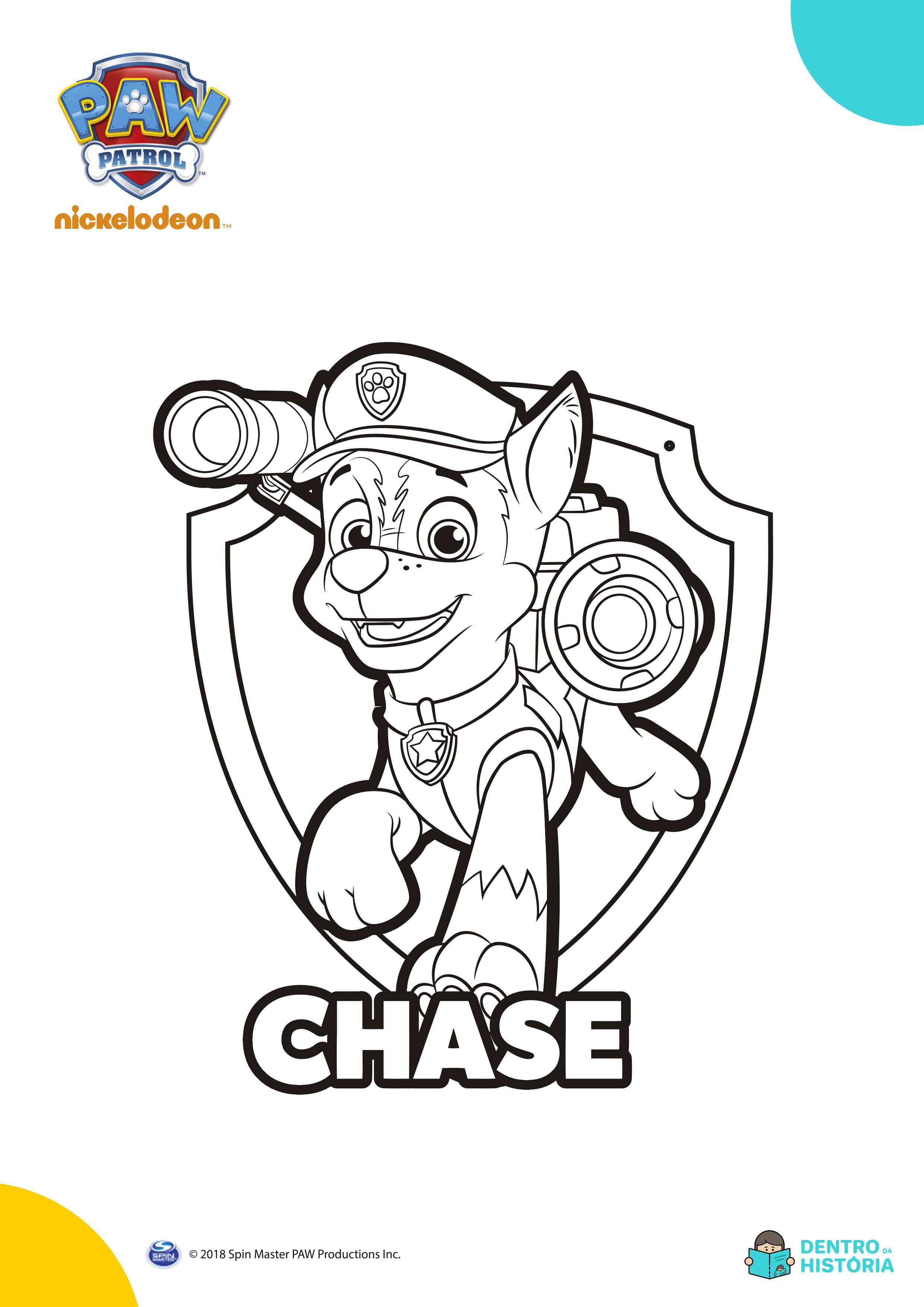 patrulha canina para colorir chase