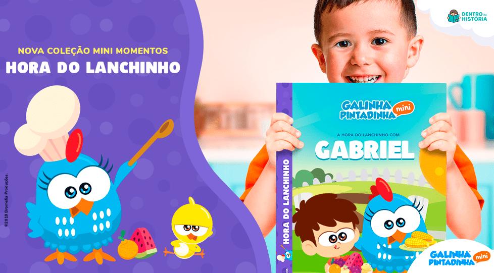 livro personalizado galinha pintadinha lanchinho