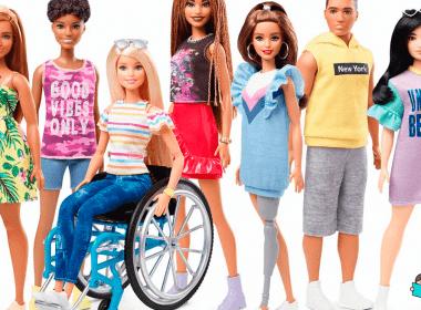 Lançamentos da coleção Fashionista: Barbie com cadeira de rodas, com prótese, com cabelo curtinho, cabelo crespo, etc