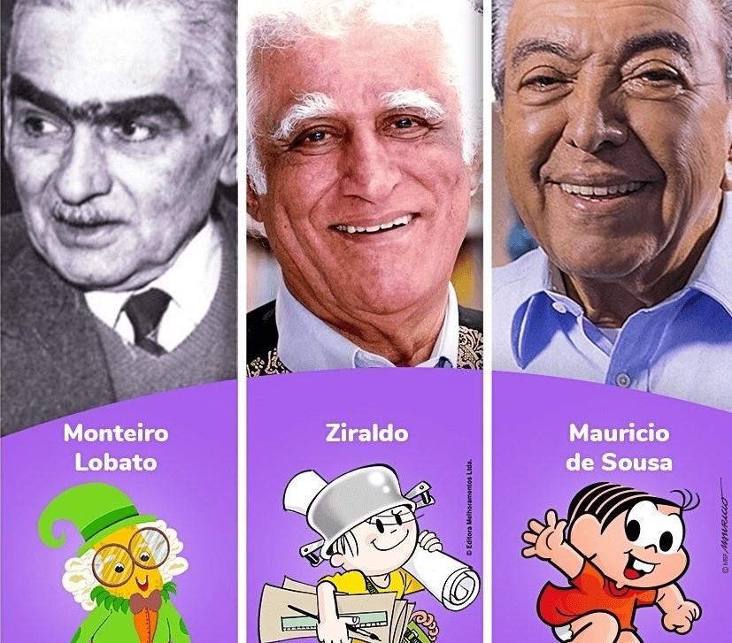 Autores de livros infantis: Monteiro Lobato, Ziraldo e Mauricio de Sousa