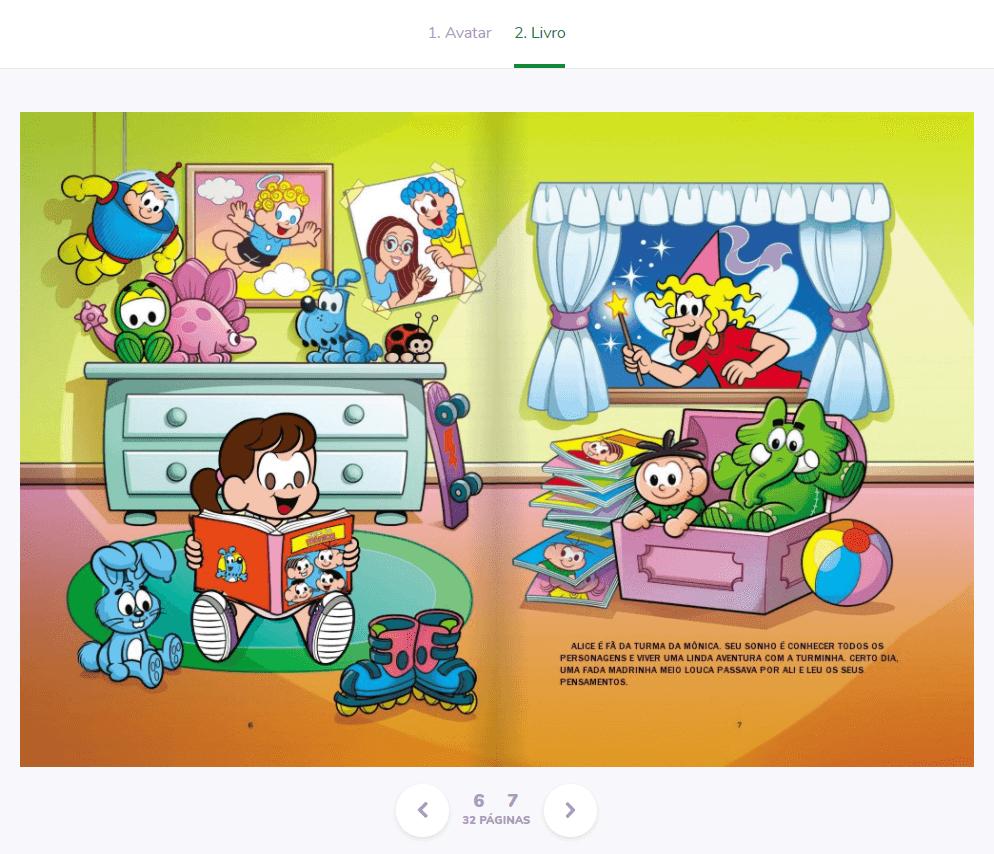 Livro infantil personalizado da Turma da Mônica