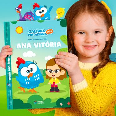 Livro personalizado Cinco Sentidos - Galinha Pintadinha