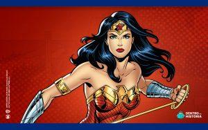 Ilustração com fundo vermelho mostrando a Mulher-Maravilha em primeiro plano.
