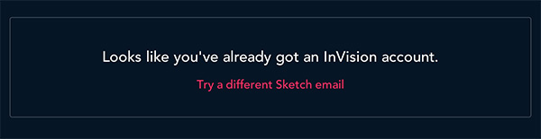 InVision error message