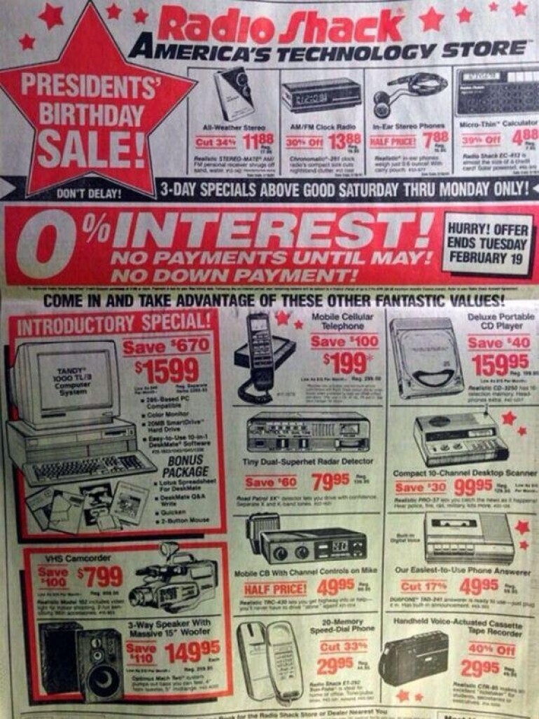 1991 radio shack ad