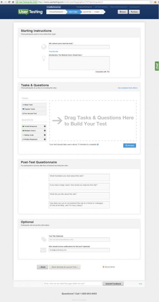 UserTesting test creation interface after redesign
