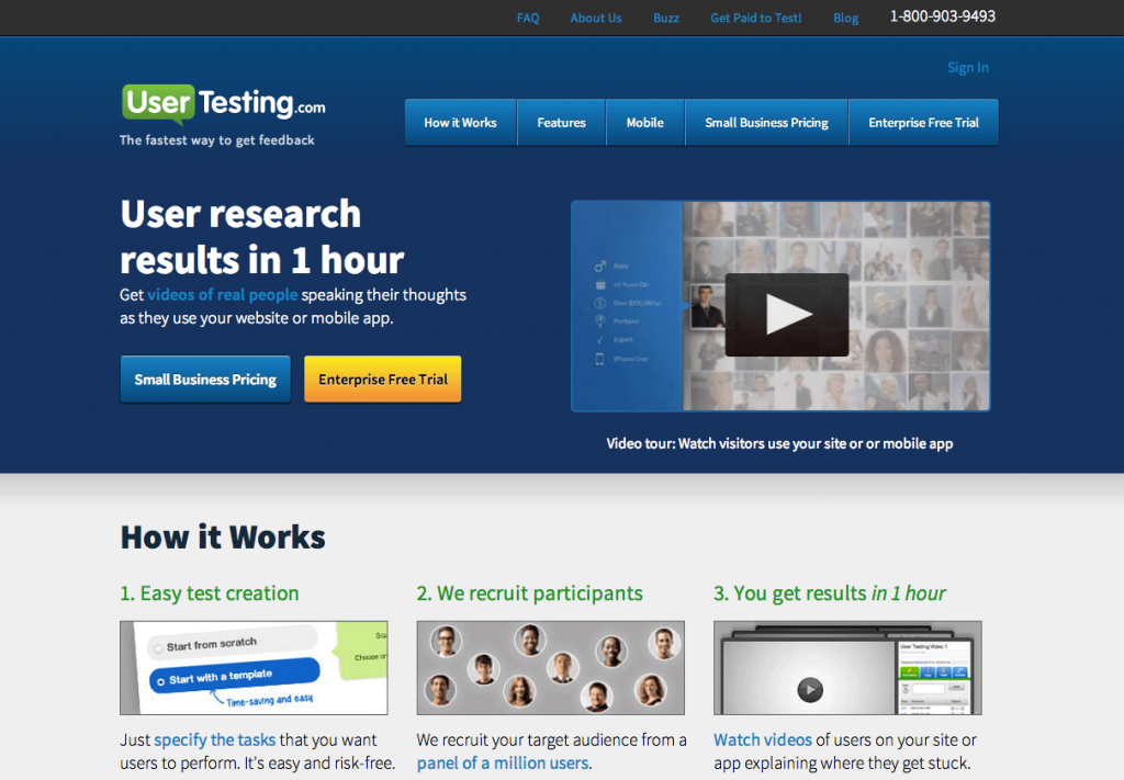 The old UserTesting homepage