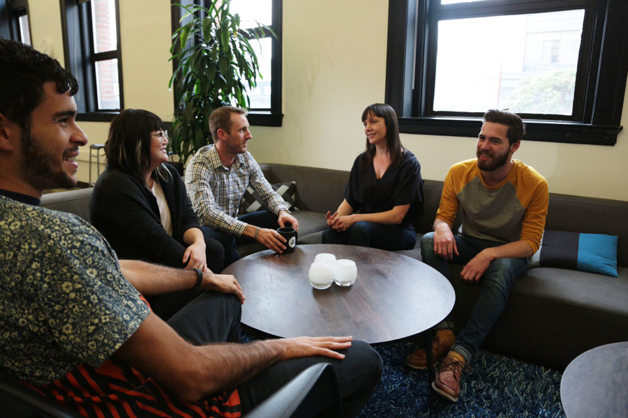 StumbleUpon's design team members Asher Blumberg, Amy Luo, Michael Spiegel, Jennifer Fleming & Matthew Spangenberg