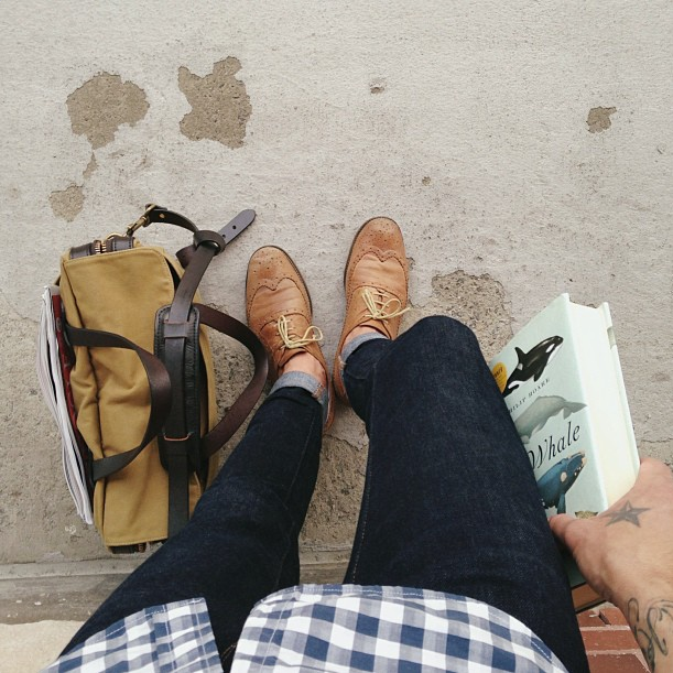 """Waiting between train transfers with book and work bag in tow.""Michael Smyjewski, Designer at Crush & Lovely"