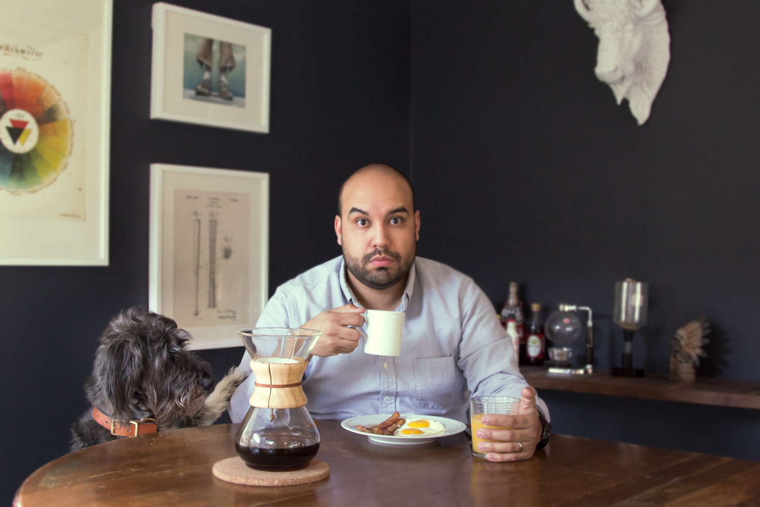 Ben Hernandez @ivebenthinking Senior Product Designer at Dialexa I try to start each day right: bacon eggs, coffee, orange juice, and a reminder of failed dog training.