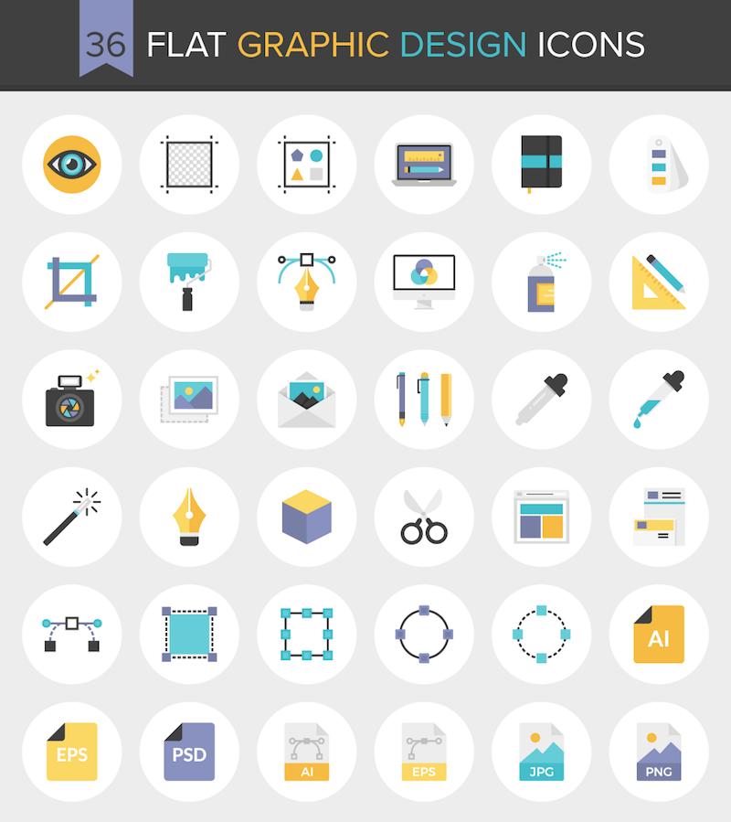 download 36 flat graphic design icons free inside design blog