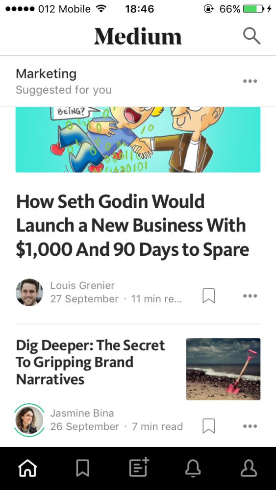 Screenshot of the Medium app