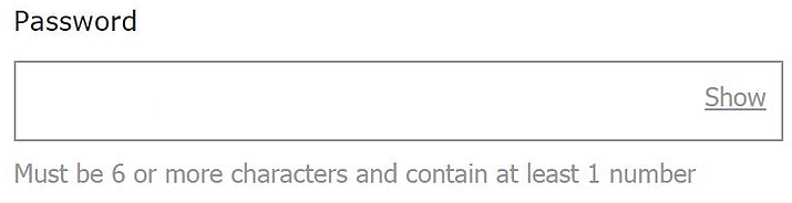Image of password field with further instructions below it