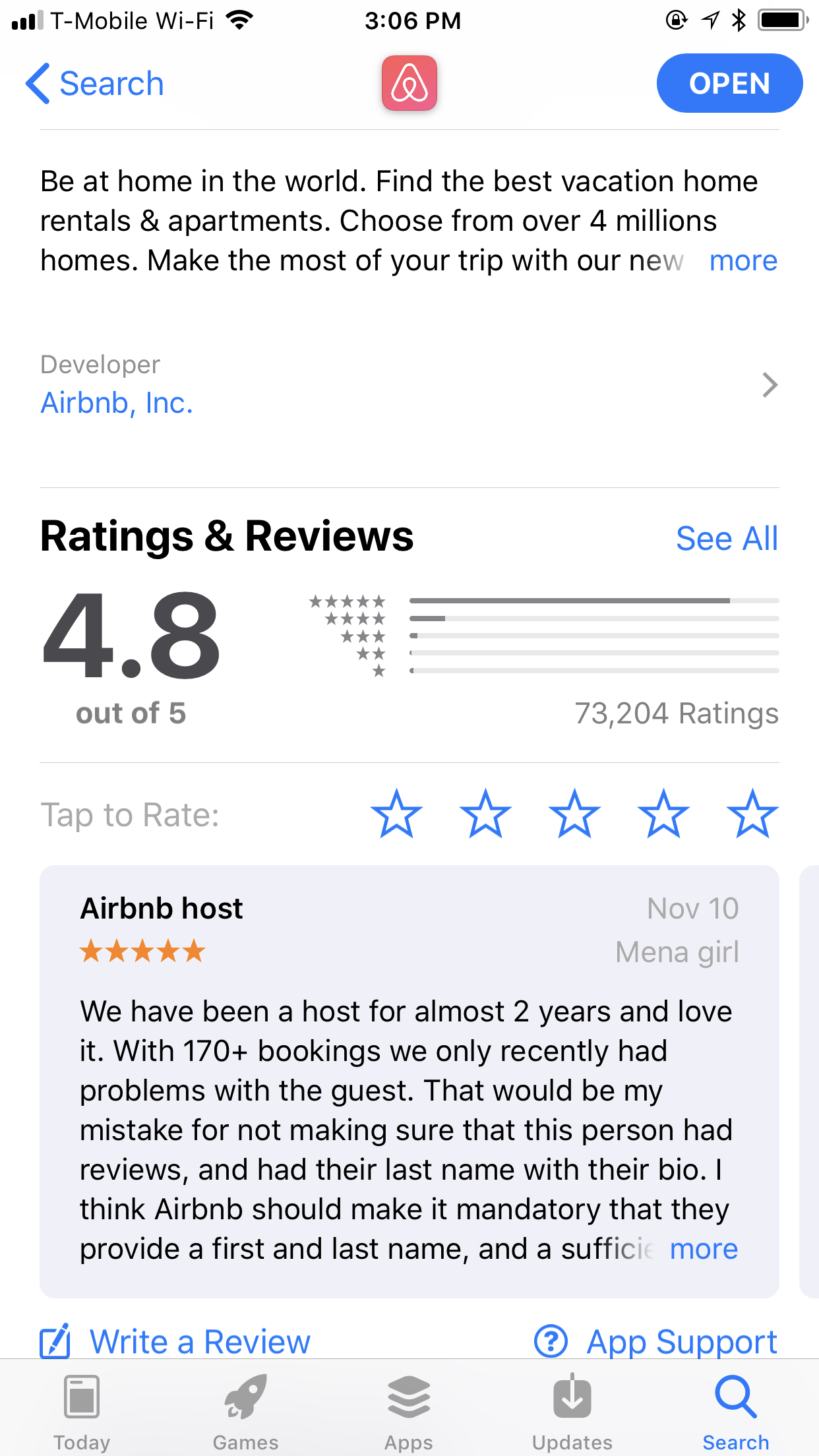 airbnb app reviews