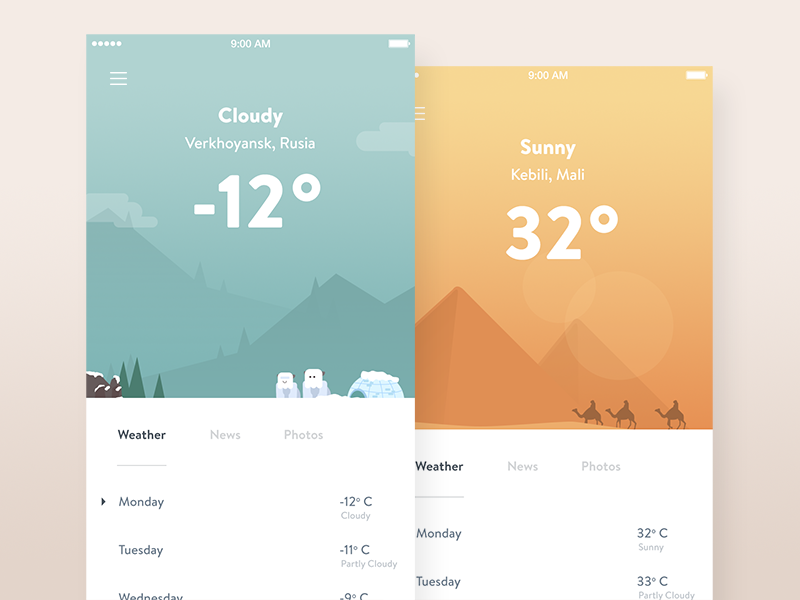 7 examples of playful weather app uis for Easy app design