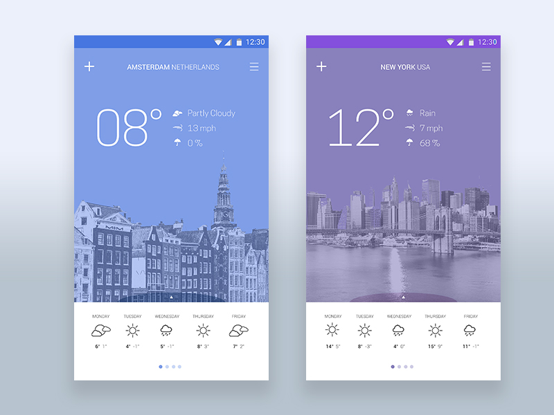 7 examples of playful weather app UIs