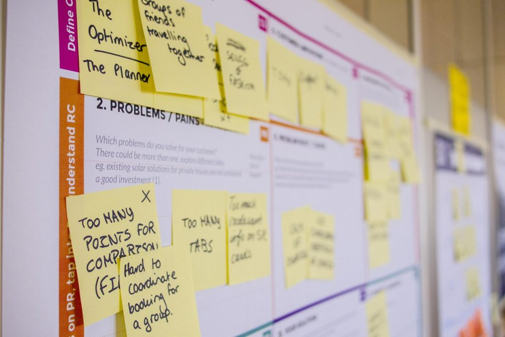 Post-it notes that are part of a brainstorm.