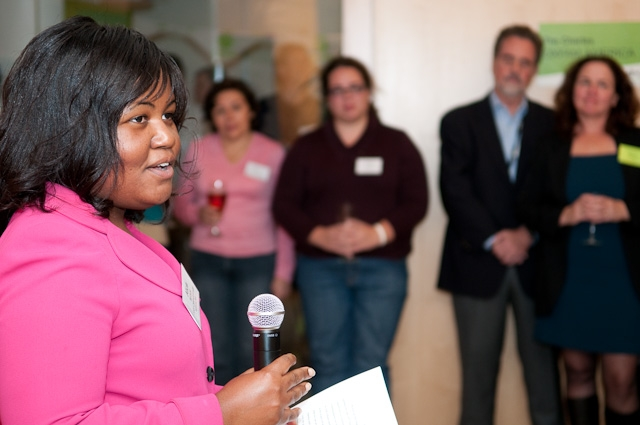 Alicia Wilson, a CHANGE alumna and lawyer from Baltimore, gave the keynote speech. Cheryl Calombo/Oxfam America.