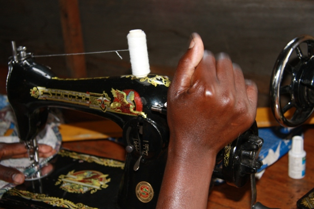At a center for rape recovery, Congolese women learn new skills, such as sewing, so that they will be able to support themselves when they return to their homes. Photo by Liz Lucas/Oxfam America