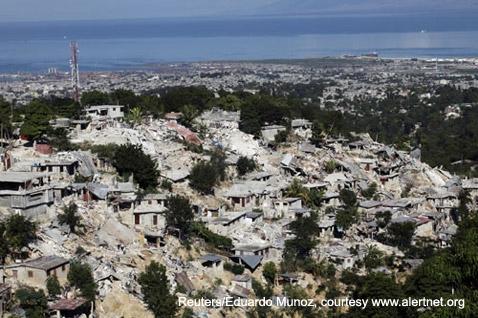 Port-au-Prince lies in ruins following Tuesday's earthquake. Reuters/Eduardo Munoz, courtesy www.alertnet.org