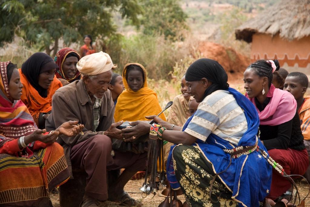 Terefua Bagajo, far right, and community members in Gutu Dobi, Ethiopia. Photo: Eva-Lotta Jansson / Oxfam America