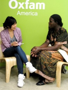Thao Nguyen, left, interviews climate witness Constance Okollet. Photo: Chelsea Brass / Oxfam America