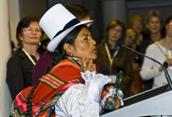 Marisa Marcavillaca speaks at Oxfam's Sisters on the Planet Climate Leaders Summit. Photo: Ilene Perlman / Oxfam America