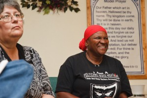 Sharon Hanshaw, right, attends a meeting of grassroots groups, coordinated by Oxfam, at a  church in Boothville, LA. Photo: Audra Melton/Oxfam America