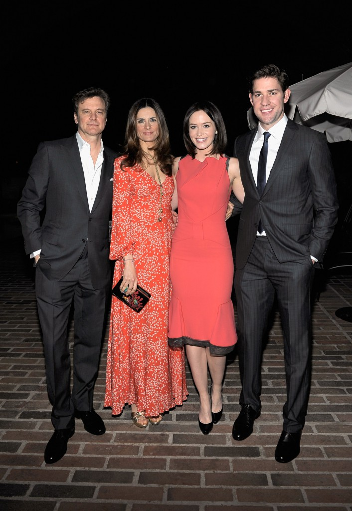 Actor Colin Firth wearing Ermenegildo Zegna, Livia Firth, actress Emily Blunt and actor John Krasinski wearing Ermenegildo Zegna attend the Vanity Fair and Ermenegildo Zegna Dinner hosted by Colin &  Livia Firth and Anna Zegna, in support of Oxfam America and The Green Carpet Challenge at Chateau Marmont on February 22, 2012 in Los Angeles, California.  (Photo by Charley Gallay/Getty Images for VF)