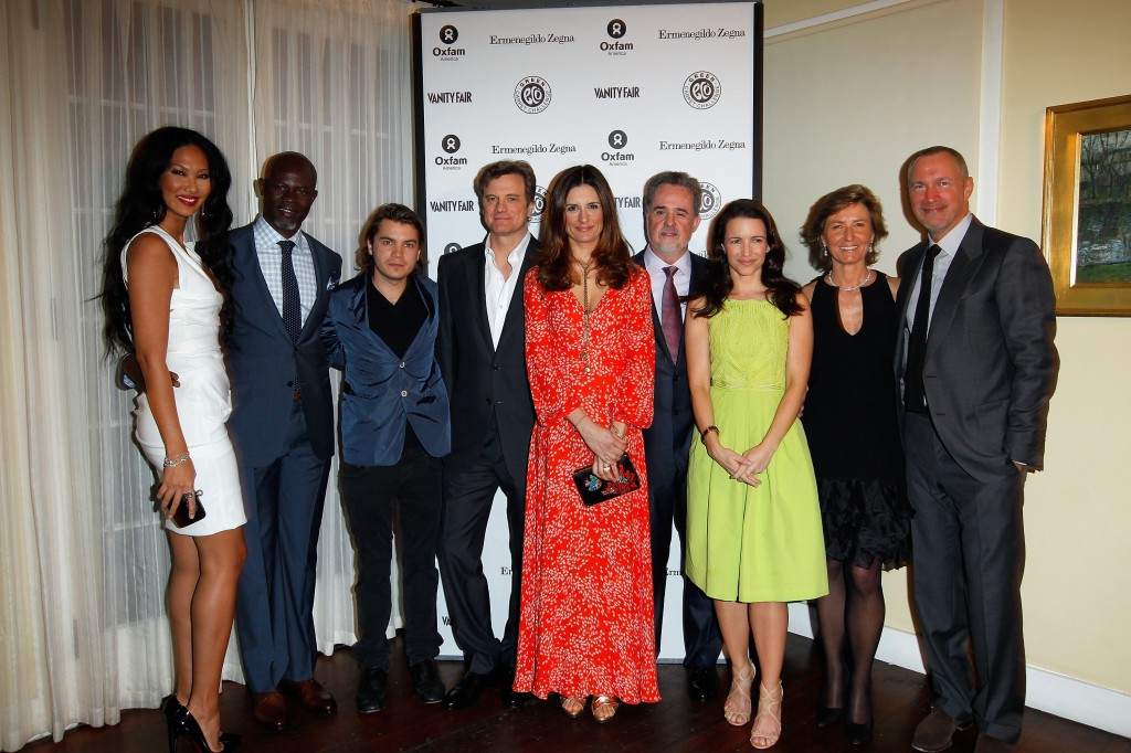 Actress/model Kimora Lee, actor Djimon Hounsou wearing Ermenegildo Zegna, actor Emile Hirsch, actor Colin Firth wearing Ermenegildo Zegna, Livia Firth, President of Oxfam America Raymond Offenheiser wearing Ermenegildo Zegna, actress Kristin Davis, Anna Zegna and and Publisher of Vanity Fair Edward Menicheschi attend the Vanity Fair and Ermenegildo Zegna Dinner hosted by Colin &  Livia Firth and Anna Zegna, in support of Oxfam America and The Green Carpet Challenge. Photo by Donato Sardella/Getty Images for VF