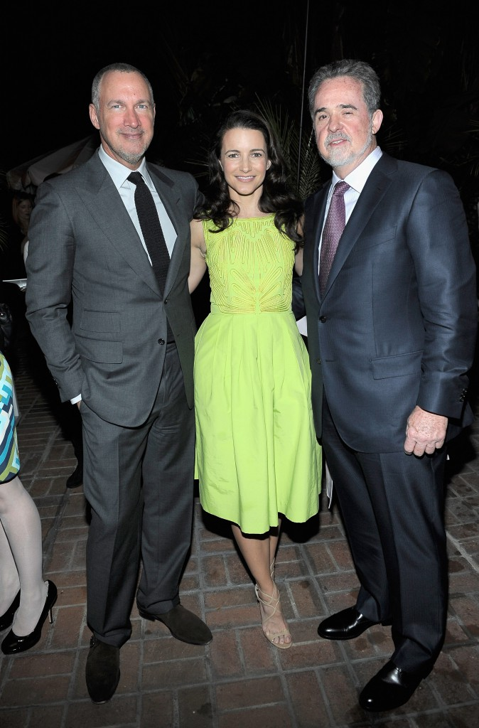 Publisher of Vanity Fair Edward Menicheschi, actress Kristin Davis and President of Oxfam America Raymond Offenheiser wearing Ermenegildo Zegna attend the Vanity Fair and Ermenegildo Zegna Dinner hosted by Colin &  Livia Firth and Anna Zegna, in support of Oxfam America and The Green Carpet Challenge at Chateau Marmont on February 22, 2012 in Los Angeles, California.  (Photo by Charley Gallay/Getty Images for VF)