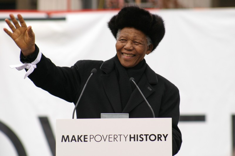 Nelson Mandela speaking at a Make Poverty History event in 2005. Photo: Mark Davey/Oxfam