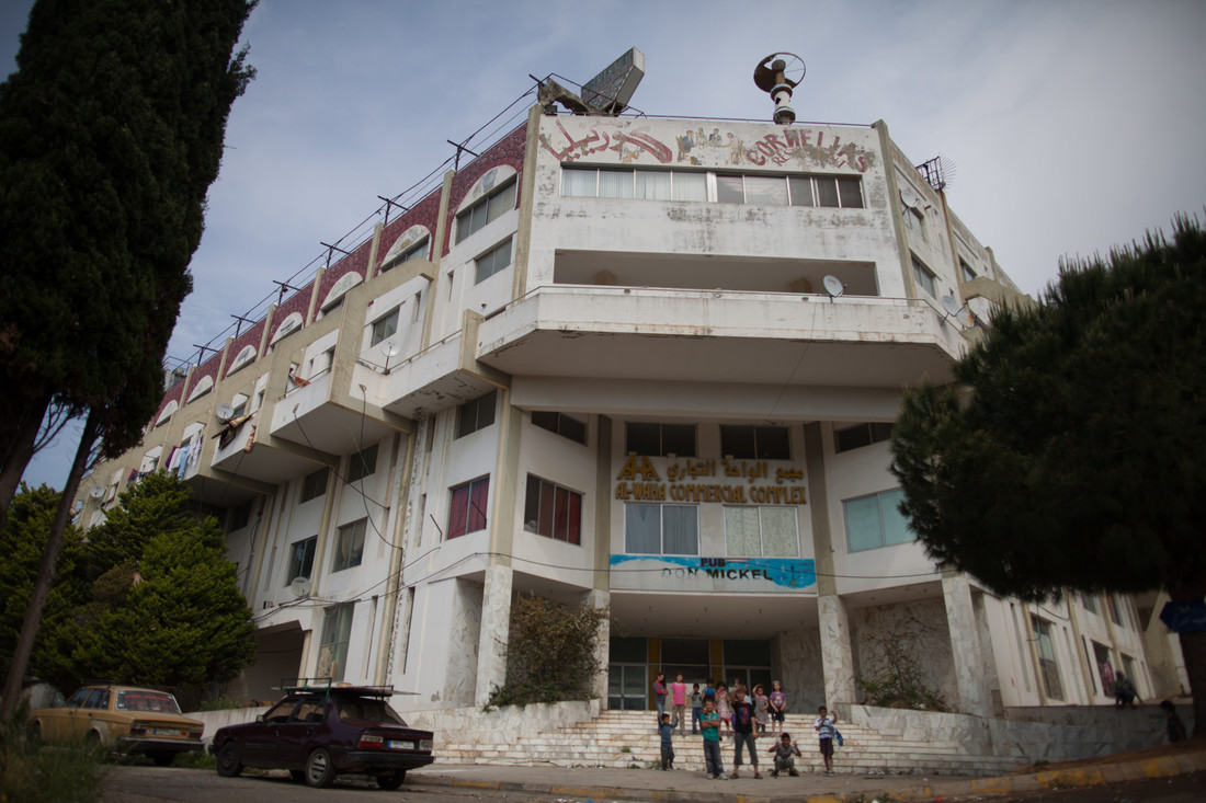 A view of the abandoned shopping mall in Lebanon two months ago, when about 100 families were taking refugee there. That number has since quadrupled. Photo: Sam Tarling/Oxfam