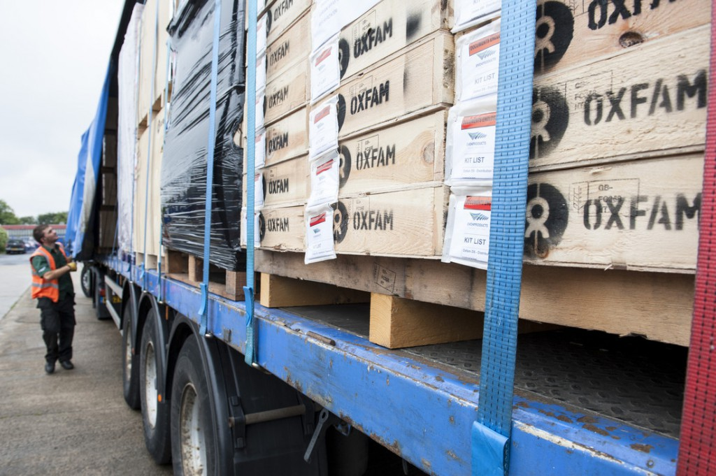 An Oxfam delivery of water and public health supplies on its way to Syria. Photo: Eleanor Farmer/Oxfam