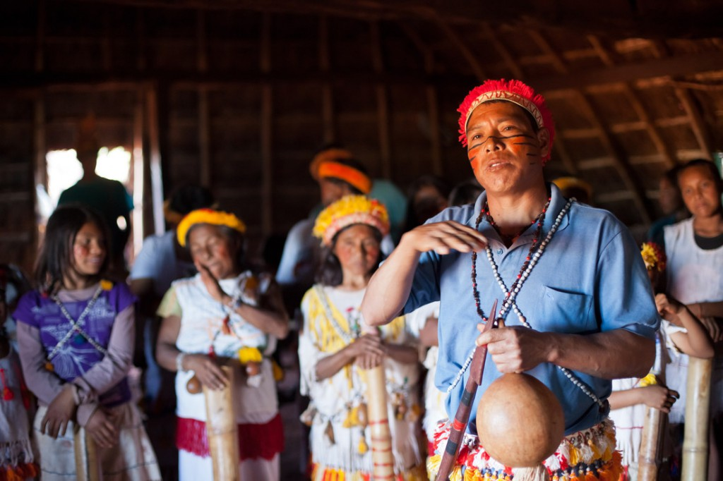 Chief Ezequiel João and community members from Mato Grosso do Sul, Brazil, say sugarcane plantations have led to deforestation and pollution. Photo: Tatiana Cardeal