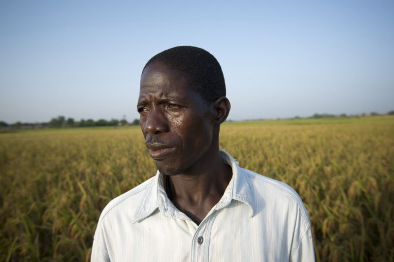 Saidou Bamogo at his rice field in Burkina-Faso. Photo by Brett Eloff/Oxfam America