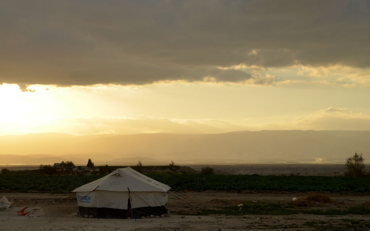 This small camp is one of 45 tented settlements where Oxfam works in the Jordan Valley, providing water filters and hygiene kit to refugee families. Photo: F. Muath/Oxfam