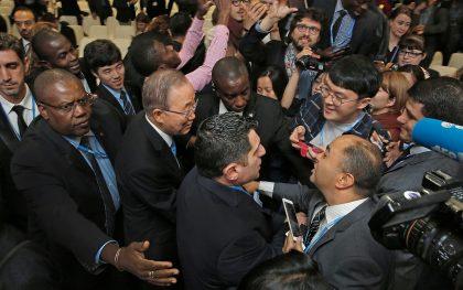 UN Secretary General Ban meets with representatives of non-governmental organizations at the climate change negotiations in Morocco. UN Photo/Evan Schneider
