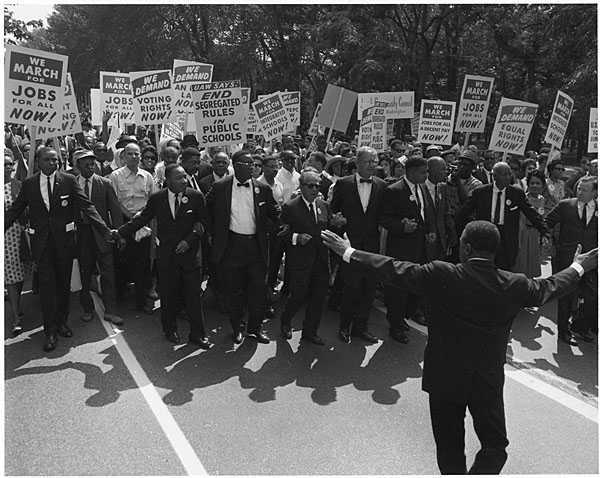 Hundreds of thousands of civil rights activists marched from the Washington Monument to the steps of the Lincoln Memorial in August, 1963.