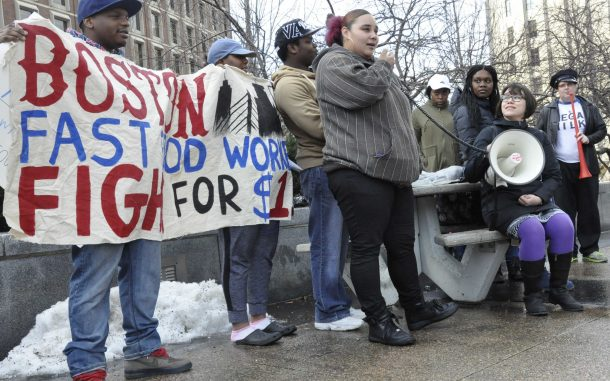 Low-wage workers in Boston rally to oppose Andrew Puzder as nominee for Secretary of Labor in January 2017. People of color, especially women, are disproportionately represented in the low-wage workforce. Mary Babic / Oxfam America