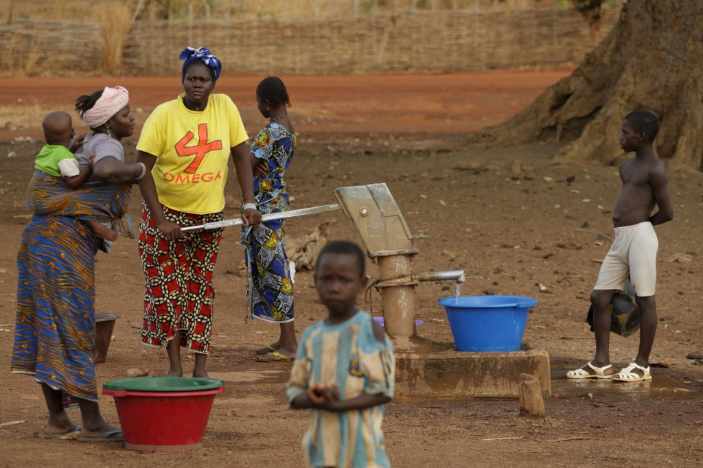 Village residents fetch water from a communal pump in Faloumbou, Senegal Tuesday. Rebecca Blackwell/Oxfam America.