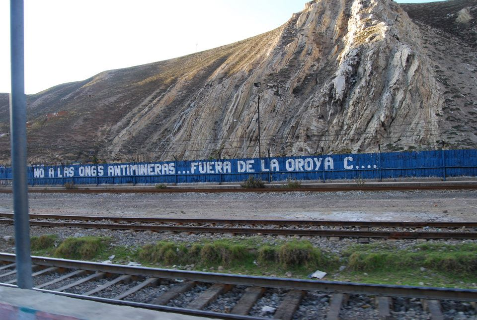 Get out of La Oroya anti-mining NGOs! Photo by Cecilia Nizen/Oxfam America.