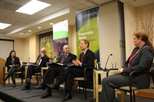 Private sector, NGO, and State Department representatives at a panel discussion following Assistant Secretary of State Thomas Countryman's speech as part of Monday's event on the Arms Trade Treaty.
