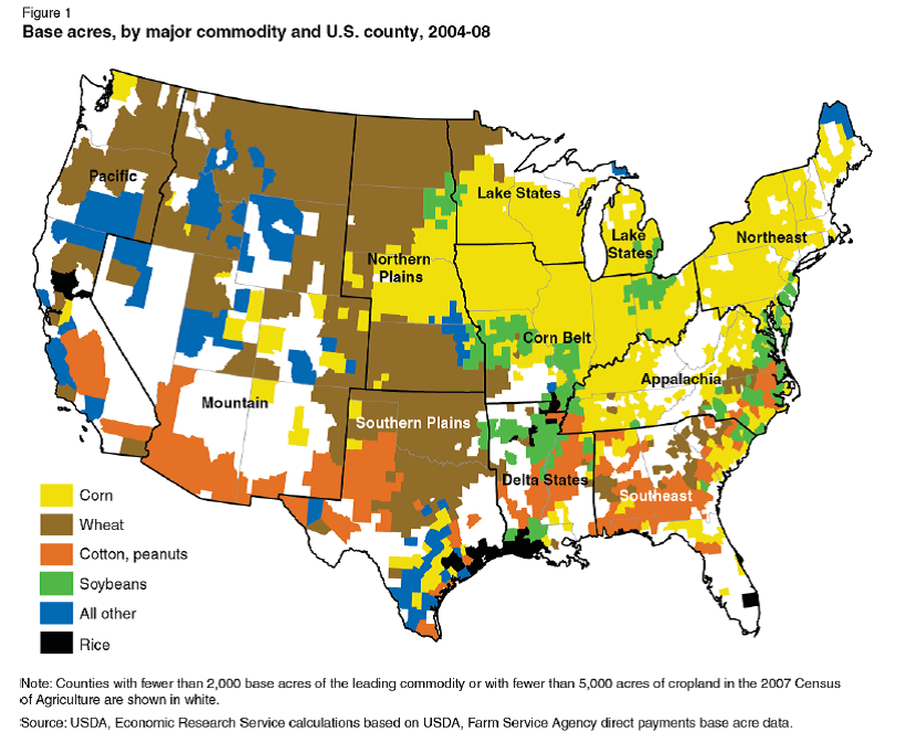 Farm Bill Cliff A More Tradedistorting Farm Policy Oxfam - Agricultural products grown in the us map