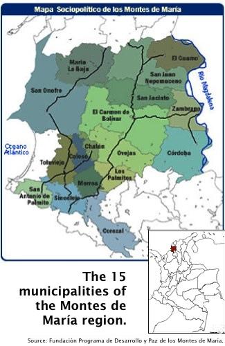 Montes de Maria map