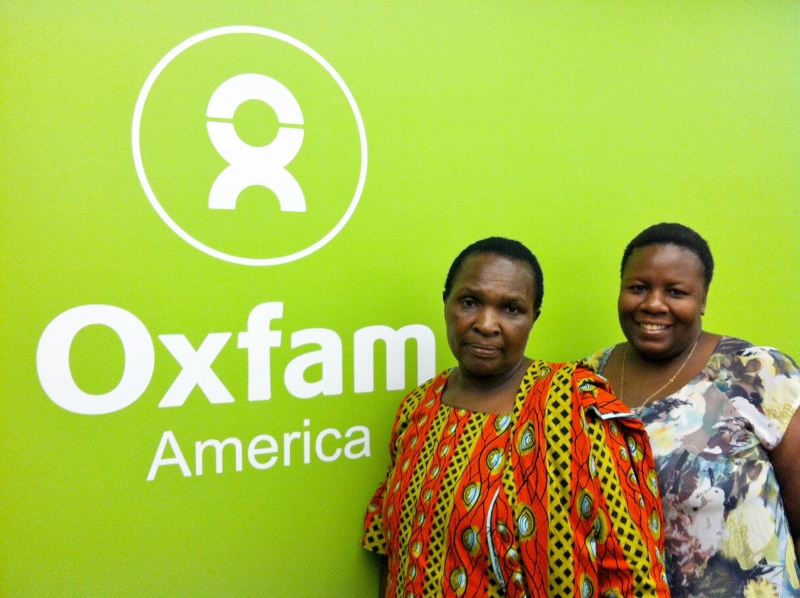 Emiliana Aligaesha (left) with Mwanahamisi Salimu, Campaigns & Advocacy Manager for the GROW Campaign in Tanzania at the Oxfam America offices.