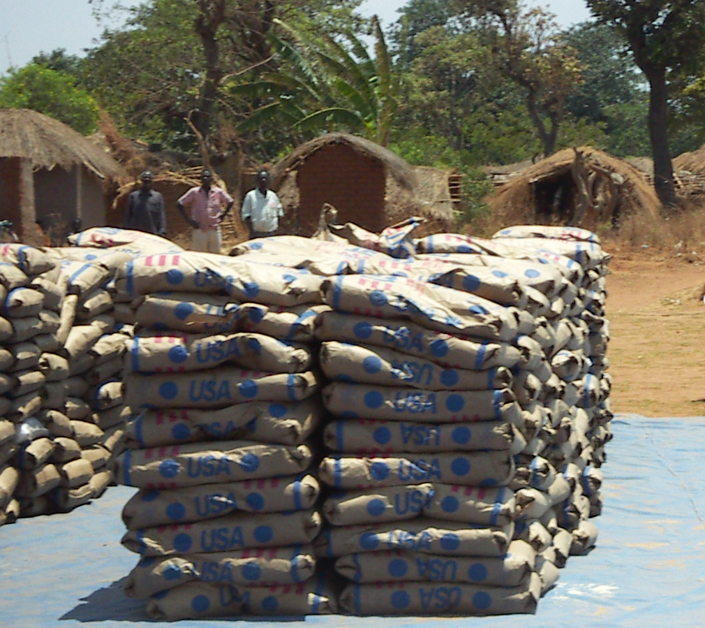 US food aid waiting to be distributed in a village in the Mchinji district of Malawi in 2005. Photo: Jennifer Lentfer